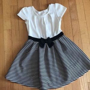 Gymboree Black Ivory Bow Dress 5T 5 Stripe Girls